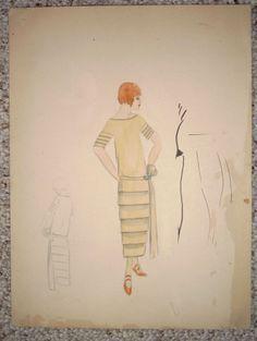 Vintage Art Deco Original Fashion Sketch Flapper Dress Drawing NY Designer