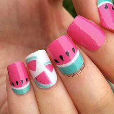 This design includes - An irresistible adorable watermelon design perfect for to give you an extra OOMPH to every outfit. Each pack includes - 16 Double Ended Nail Polish Wrap - Cuticle Pusher - Nail Matte Nails Glitter, Gel Nails, Manicure, Nail Polish, Beautiful Nail Designs, Cute Nail Designs, Cute Nails, Pretty Nails, Deco Fruit