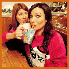 Behind the scenes of the Carmilla Christmas Special. Love the grumpy cat sweater!