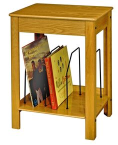 Oak Record Player Stand and Record Holder