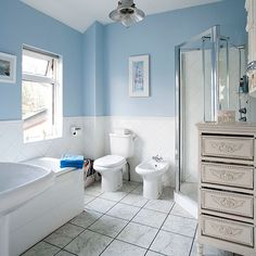 blue bathroom accessories pale blue and white traditional style bathroom bathroom decorating - Bathroom Ideas Blue