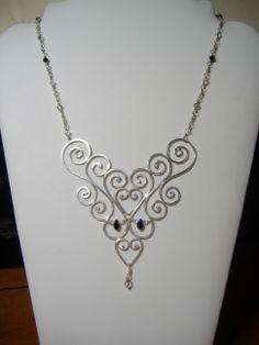 Sterling silver & Swarovski hand made focal design necklace