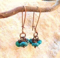 Turquoise Dangle Earrings. Copper Wire Wrapped Turquoise Earrings. Genuine Turquoise Drop Earrings.Cluster Earrings.Rustic Turquoise Jewelry