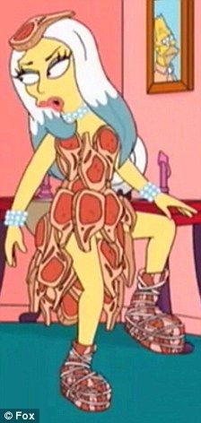 Lady Gaga dons her infamous meat dress for an appearance on The Simpsons