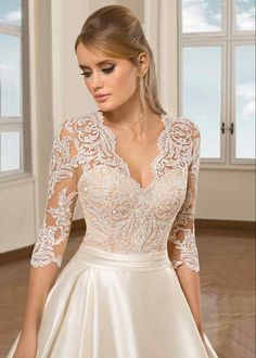 Elegant Ivory Satin A Line Wedding Dresses 2019 Simple Sweep Train Plus Size Bridal Gowns Custom V Neck Lace Long Sleeves Wedding Gowns wedding stuff Beige Wedding Dress, Civil Wedding Dresses, Simple Wedding Gowns, Wedding Gowns With Sleeves, Wedding Dresses Photos, Wedding Dress Trends, Princess Wedding Dresses, Bridal Dresses, Demetrios Wedding Dresses
