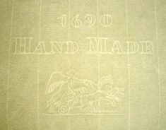 """Whatman made laid texture paper with watermark """"1690 Hand Made"""" A winged woman and chariot and a Britiannia device/watermark (not shown) This paper was made for Grosvenor Charter, paper merchants in London; 1690 is their founding date.  This paper was made in the 1940-1950's"""