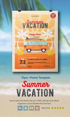 Summer Vacation Flyer / Poster Template PSD, AI Illustrator. Download here: http://graphicriver.net/item/summer-vacation-flyerposter/16616018?ref=ksioks