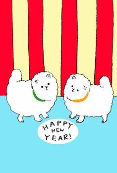 おしゃれでシンプルなデザイン【戌年無料年賀状】 Happy New Year 2018, Chinese New Year, Calendar, Lettering, Graphic Design, Drawings, Dogs, Cards, Poster