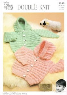 baby cardigan hoodie vintage knitting pattern PDF instant download