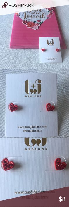 Your my heart Earrings NWT❤️❤️ Cute red heart earrings with beautiful red crystals and so cute! T&J Designs Jewelry Earrings