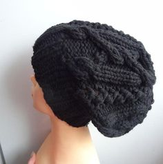 Handmade Knitt Cable Hat Beanien Slouchy Black Hat by ...