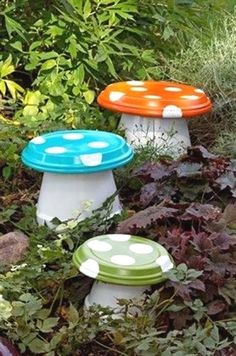 These Terracotta Toadstools will be a welcome sight in your garden. They are perfect for fairy gardens too and so easy to make. Get the kids to help! #GardenIdeas