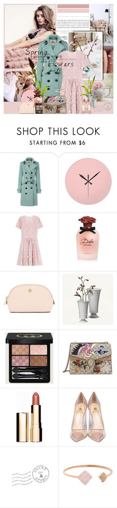 """""""Spring paints the world with flowers."""" by giko-is-giantsister ❤ liked on Polyvore featuring Kerr®, Burberry, WALL, Dolce&Gabbana, Tory Burch, Simon Pearce, Gucci, Clarins, Semilla and Michael Kors"""