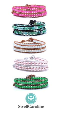 Double Candy Wrap Bracelets {Semi-Precious Stones} - On sale now at swellcaroline.com! #WrapBracelet #Pearls