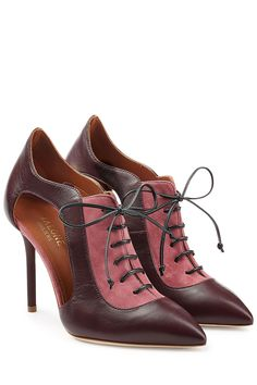 Suede and Leather Lace-Up Pumps with Cut-Outs - Malone Souliers | WOMEN | GB STYLEBOP.com
