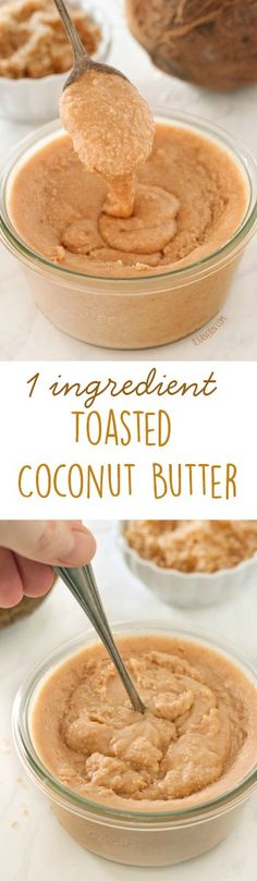 I need to do something with all of my extra coconut. This toasted coconut butter only takes minutes to make and all you need is a food processor and coconut flakes! Naturally gluten-free and vegan. Coconut Recipes, Gluten Free Recipes, Whole Food Recipes, Vegan Recipes, Cooking Recipes, Isagenix, Yummy Food, Tasty, Toasted Coconut