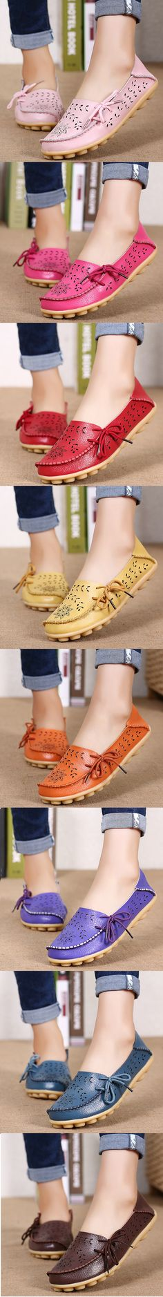 US$16.60 Large Size Breathable Hollow Out Flat Lace Up Soft Leather Shoes