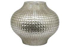 "13"" Stud Motif Vase, Silver on OneKingsLane.com"