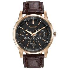 Citizen BU2013-08E Men's Dress Eco-Drive Black Dial Rose Gold Steel Brown Leather Strap Watch