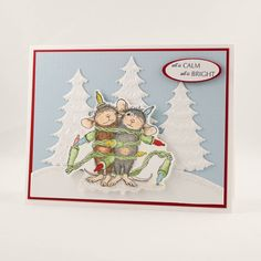 Christmas Greeting Card House Mouse Christmas Card by TrioCards
