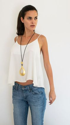 Long Pendant Necklace Gold Drop Pendant Black by danielapalatnik