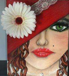 """Séductrice de l'amour 8""""x10"""", galerie, acrylique et collage (fleur en tissus peinte, vrai pendentif au cou, vraie dentelle au chapeau, et vrais zircons dans les cils et les percings)"""