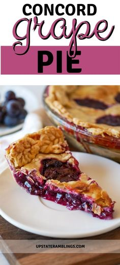 Celebrate fall with this delicious Concord grape pie recipe. This traditional pie recipe from the finger lakes region of New York is of a flaky pie crust filled with lots and lots of Concord grapes. With only four ingredients this grape pie recipe is not difficult to make and is a unique holiday dessert with outstanding grape flavor.