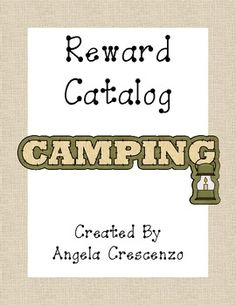 Behavior Management Reward Catalog & Punch Cards Camping Theme
