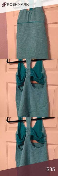 Lululemon Women's Blue Tank Top With Built In Bra Size 10 EUC Lululemon Brand lululemon athletica Tops Tank Tops