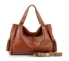 Solid Genuine Leather Shoulder Bags with Exterior Silt Pocket | Stylish Beth