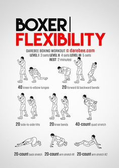Boxer Flexibility is a Darebee themed week boxer workout. Boxing Training Workout, Boxer Workout, Mma Workout, Kickboxing Workout, Mma Training, Boxing Workout With Bag, Boxer Training, Kick Boxing, Muay Thai Training Workouts