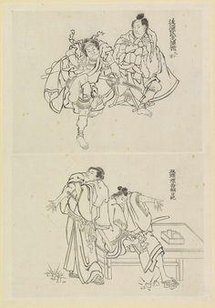 Twee toneelscènes, een met twee samurai en een met twee figuren op een veranda, Katsushika Hokusai, 1800 - 1900