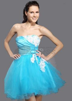 Cocktail Party / Prom / Homecoming / Sweet 16 / Holiday Dress - Pool Plus Sizes / Petite Ball Gown Strapless Short/Mini Tulle Cheap Prom Dresses Online, Prom Dresses Under 100, Prom Dresses With Sleeves, Homecoming Dresses, Strapless Dress Formal, Prom Gowns, Dress Online, Graduation Dresses, Graduation Ideas