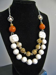 Double strand necklace with stone and ceramic by CrayzikatJewelry, $36.00