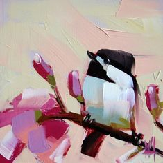 Chickadee no. 314 original bird and magnolia blossom oil painting by Moulton 6 x 6 inches on panel prattcreekart:
