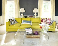 love the yellow couch and gray walls