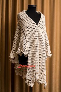 Off white Trianglе crochet shawl Triangle throw by DoroGato