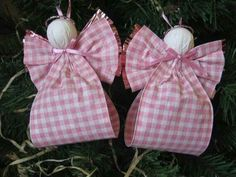 Pink Angel Ornaments U-Pick Wing Color Set of Two Pink and White Plaid Paper Ribbon Angel Tree Ornaments via Etsy Christmas Ornaments To Make, Angel Ornaments, Pink Christmas, Christmas Angels, Handmade Christmas, Christmas Holidays, Christmas Ribbon, Angel Crafts, Christmas Projects