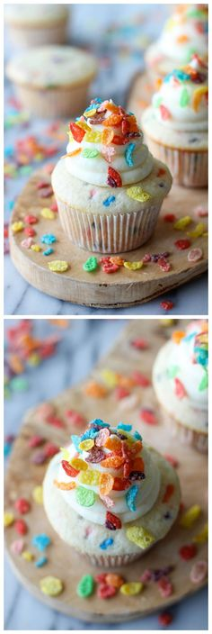 Fruity Pebble Cupcakes - Funfetti cupcakes topped with a vanilla buttercream frosting and sprinkled with colorful Fruity Pebbles!