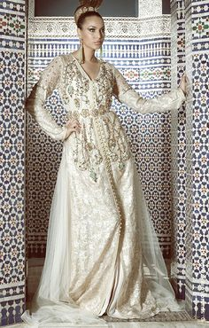 Moroccan Caftan model surrounded by gorgeous Zellij tiling. #Moroccan #Fashion…