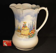 1930'S FALCON WARE LARGE YELLOW CRINOLINE LADY 26 CM JUG VICTOR MADE IN ENGLAND. China Plates, 1930s, Tea Pots, Milk Jugs, Porcelain, England, Pottery, Yellow, China Cabinet