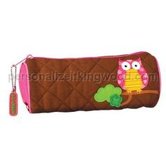 Quilted Owl Pencil Pouch. This super cute pencil bag is great for the kids - Also great as a travel bag for toothbrushes and other accessories.