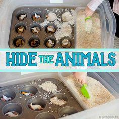Hide the Animals: Quick Sensory Bin