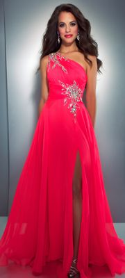 Mac Duggal Prom 2013- Neon Pink Chiffon One Shoulder Gown With Embellishments