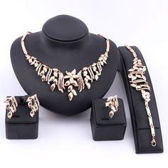 Fashion Women Gold Plated Crystal Flower African Dubai Wedding Jewelry Sets