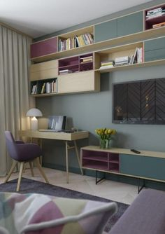 How to create a cover interior: a bedroom with a Scandinavian-style living area Study Room Design, Home Room Design, Home Office Design, Home Office Decor, Small Living Rooms, Home And Living, Living Area, Home Bedroom, Bedroom Decor