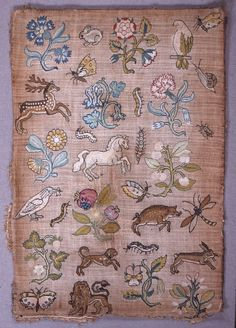"""Random Spot"" sampler of isolated floral and animal motifs. Jacobean Embroidery, Embroidery Sampler, Hand Embroidery Designs, Vintage Embroidery, Cross Stitch Embroidery, Embroidery Patterns, Embroidery Online, Indian Embroidery, Embroidery Fabric"