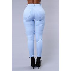 Glistening Jeans Baby Blue ($15) ❤ liked on Polyvore featuring bottoms, jeans and pants