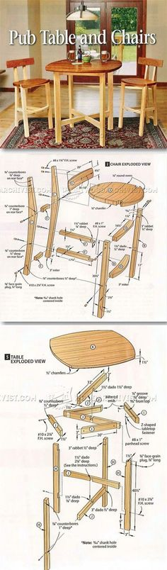 Table and Chairs Plan - Furniture Plans and Projects | http://WoodArchivist.com?utm_content=buffer84a89&utm_medium=social&utm_source=pinterest.com&utm_campaign=buffer