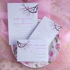 Cherry blossom wedding invitations for spring wedding Elegant Wedding Invitations, Wedding Invitation Wording, Wedding Themes, Wedding Stationery, Wedding Ideas, Cheap Invitations, Invitation Ideas, Wedding Images, Wedding Inspiration